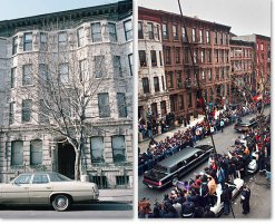 226 St. James Place, left, where Biggie grew up, in the mid-1980s. Mourners at his funeral procession, right, nearby, in 1997