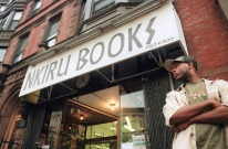 Talib Kweli outside Nkiru Books, just off Flatbush Avenue, in 1998.